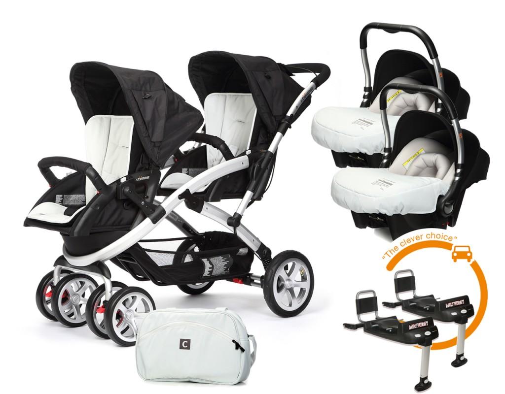 CASUALPLAY - Set kočárek pro dvojčata Stwinner, 2 x autosedačka Baby 0plus, 2x BaseFix Baby 0 a Bag 2017 - ICE.