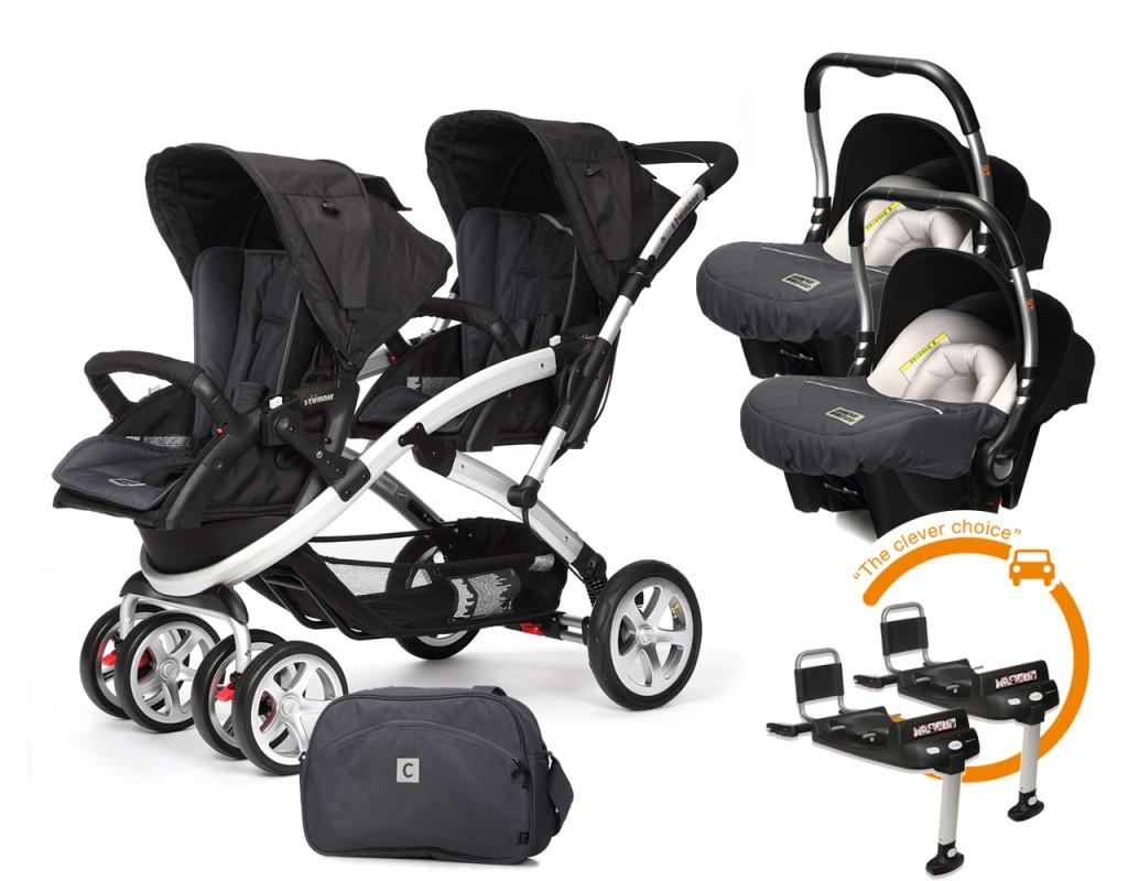 CASUALPLAY - Set kočárek pro dvojčata Stwinner, 2 x autosedačka Baby 0plus, 2x BaseFix Baby 0 a Bag 2017 - Metal