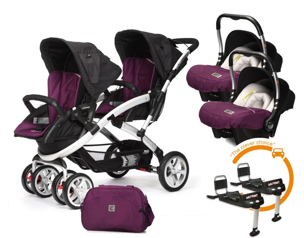 CASUALPLAY - Set kočárek pro dvojčata Stwinner, 2 x autosedačka Baby 0plus, 2x BaseFix Baby 0 a Bag 2017 - PLUM