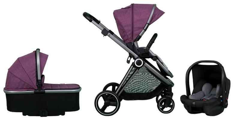 CASUALPLAY - Set sportovní kočárek Space, autosedačka Verai 0+ a korba - purple