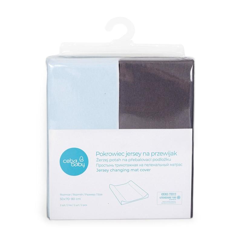 CEBA - Potah na přebalovací podložku 50x70-80cm 2ks Dark Grey+Blue