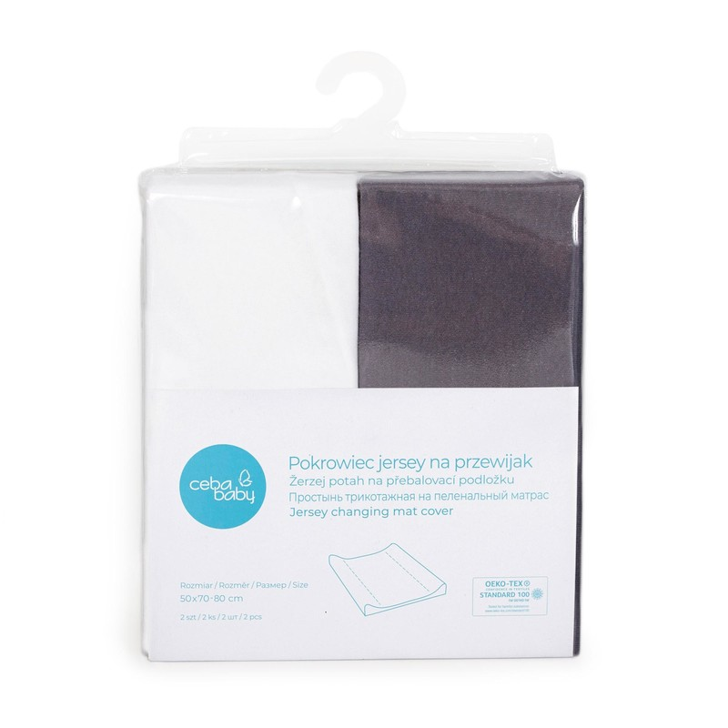 CEBA - Potah na přebalovací podložku 50x70-80cm 2ks Dark Grey+White