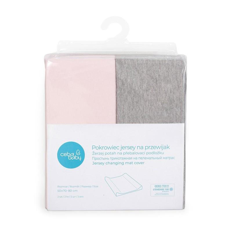 CEBA - Potah na přebalovací podložku 50x70-80cm 2ks Light Grey Melange+Pink