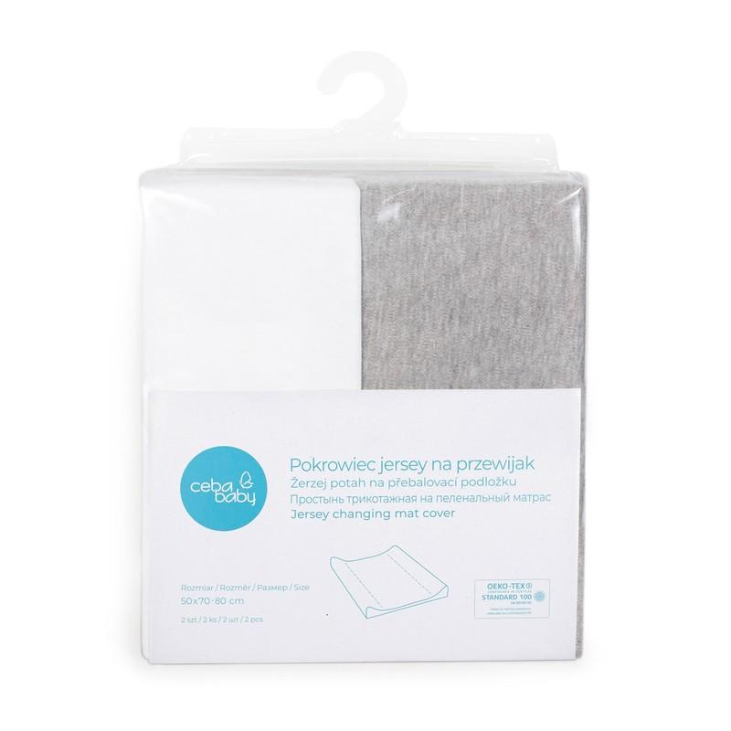 CEBA - Potah na přebalovací podložku 50x70-80cm 2ks Light Grey Melange+White