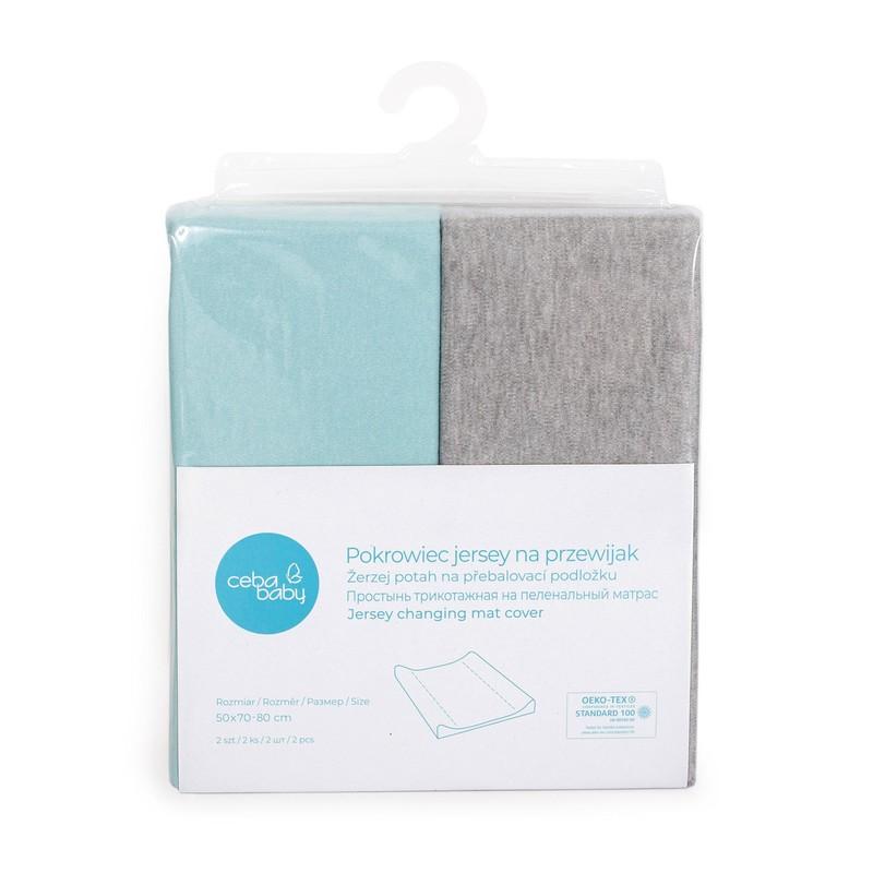 CEBA - Potah na přebalovací podložku 50x70-80cm 2ks Light Grey Melange+Turquoise