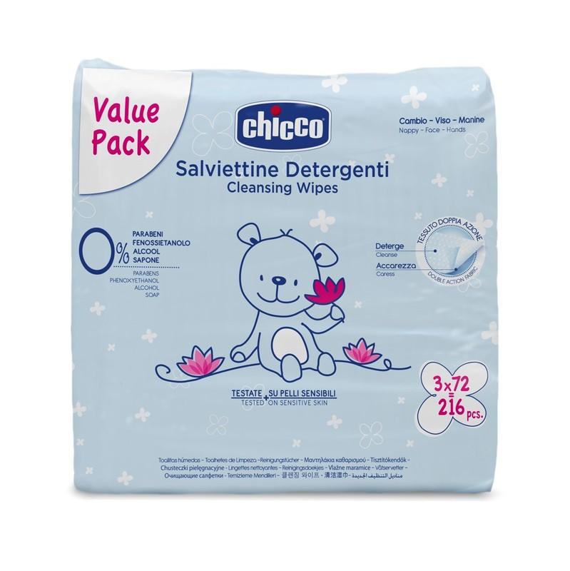 CHICCO - Ubrousky čistící, 3x 72 ks