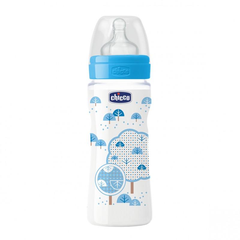 Chicco - Láhev bez BPA Well-Being silikonový dudlík rychlý modrá 330ml