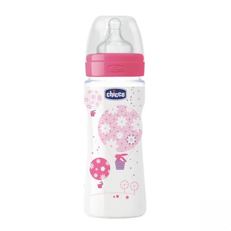 Chicco - Láhev bez BPA Well-Being silikonový dudlík rychlý růžová 330ml