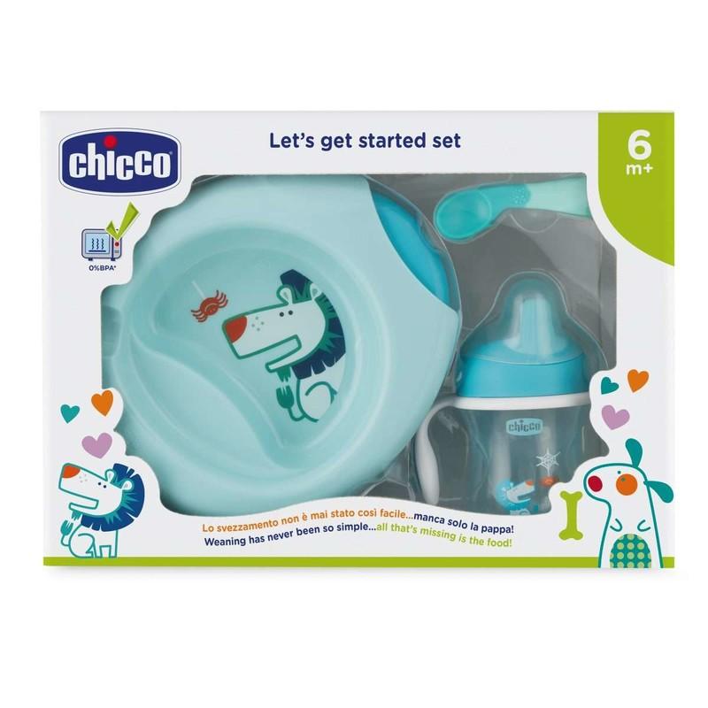 CHICCO - Jídelní set - talíř, lžička, sklenka, 6m+ - modrý
