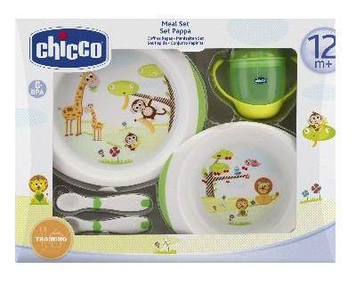 Chicco - Jídelní set - talíře, příbory, skleničku, 12m +