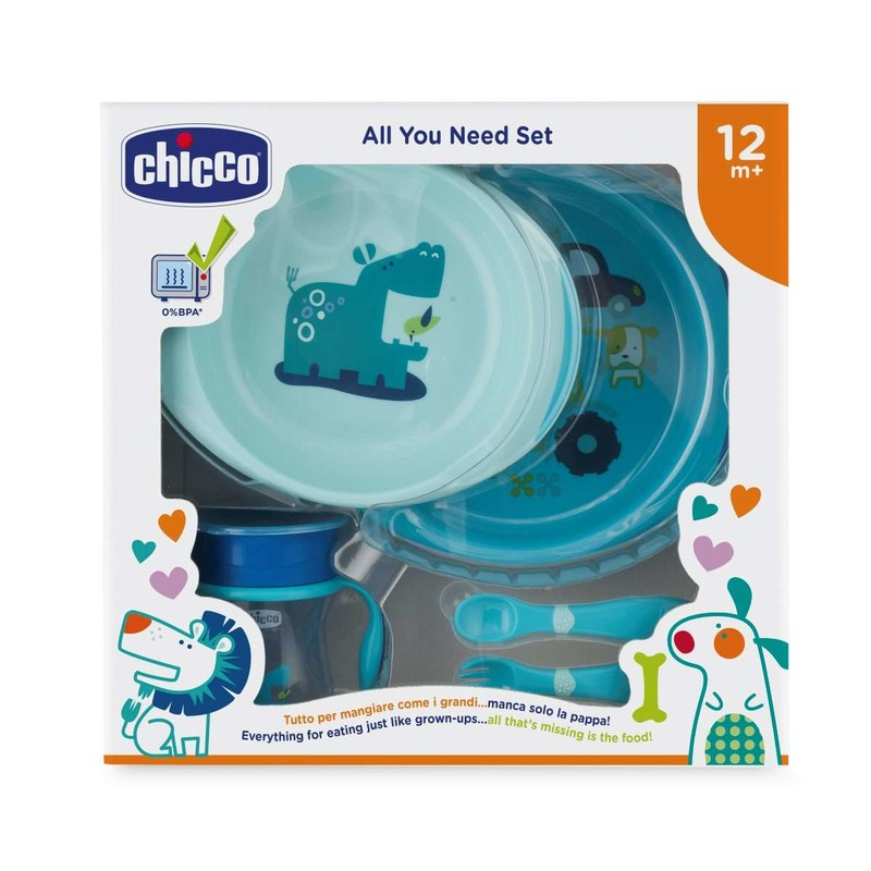 CHICCO - Jídelní set - talíře, příbory, sklenka, 12m+ - modrý