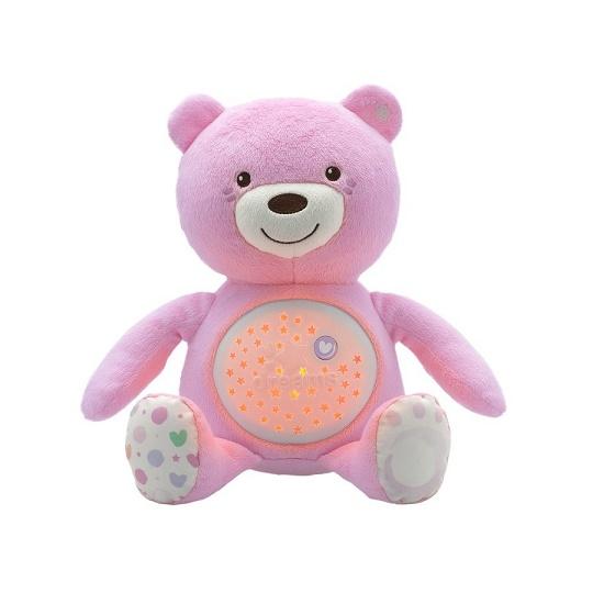 CHICCO - Hračka medvídek s projektorem - růžová