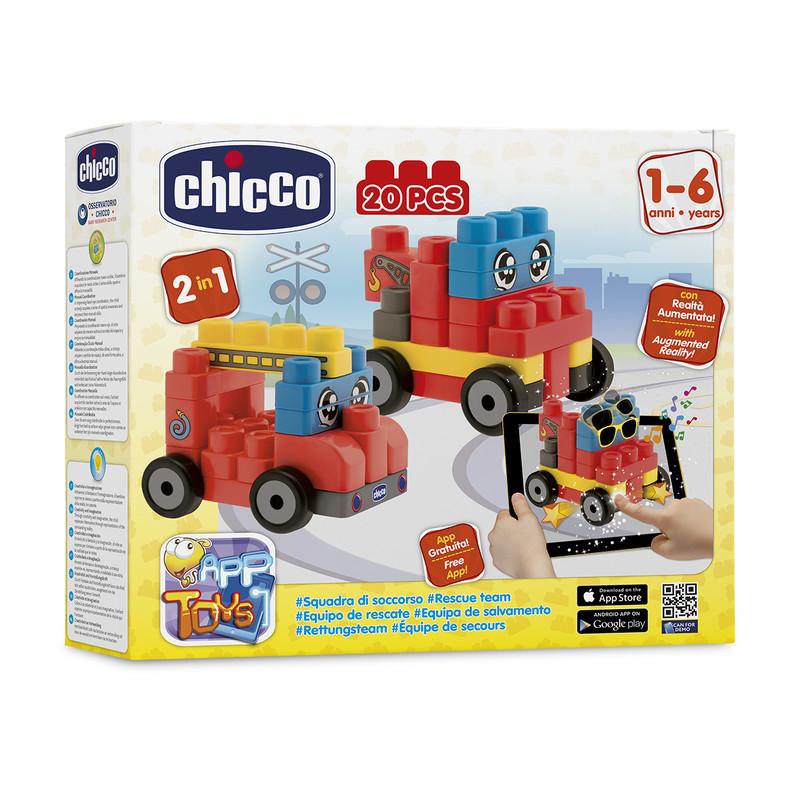 """CHICCO - Hračka stavebnice """"App Toys"""" 20ks - Záchranářské vozidla"""