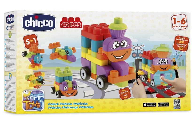 """CHICCO - Hračka stavebnice """"App Toys"""" 40ks - Dopravní prostředky"""