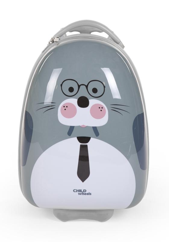 CHILDHOME - Dětský pojízdný kufr Mrož Grey