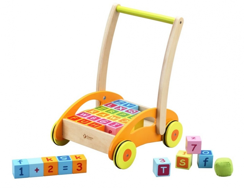 CLASSIC WORLD - Dřevěný vozík s dřevěnými kostkami - oranžový