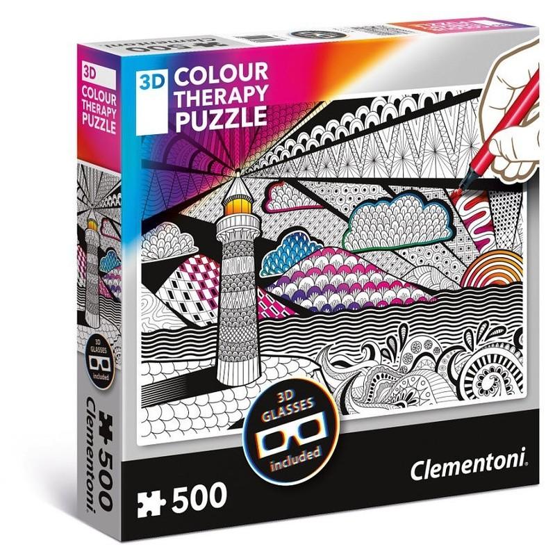 CLEMENTONI - Colour Maják + 3D brýle 500 dílů CLEMENTONI