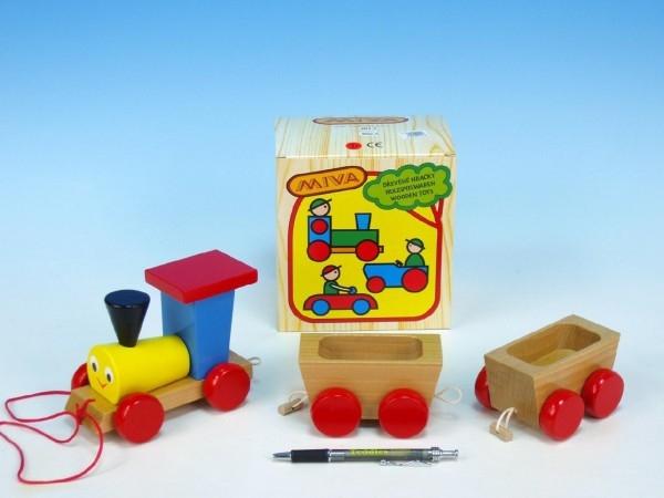 CMV - Vlak + 2 vagónky dřevo tahací barevný celková délka 43cm v krabici