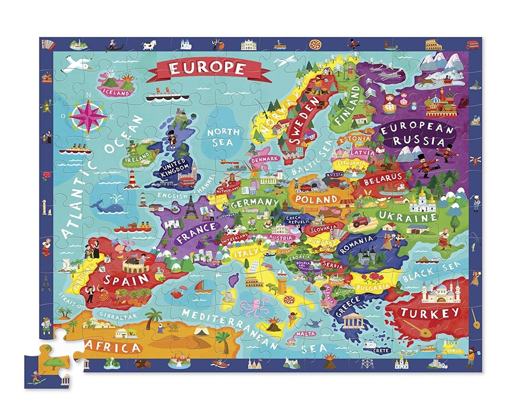 CROCODILE CREEK - Puzzle Evropa velké 100ks