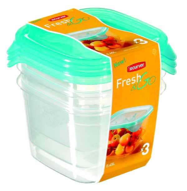 CURVER - Dózy na potraviny Fresh & Go čtverec 3 x 0,45 l