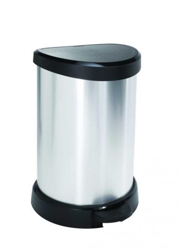 CURVER - Odpadkový koš Decobin s pedálem, 20 l - stříbrný