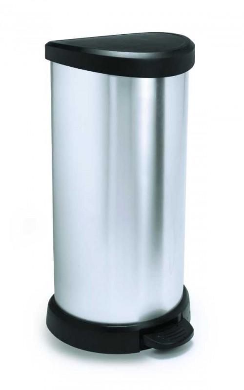 CURVER - Odpadkový koš Decobin s pedálem 40 l, stříbrný