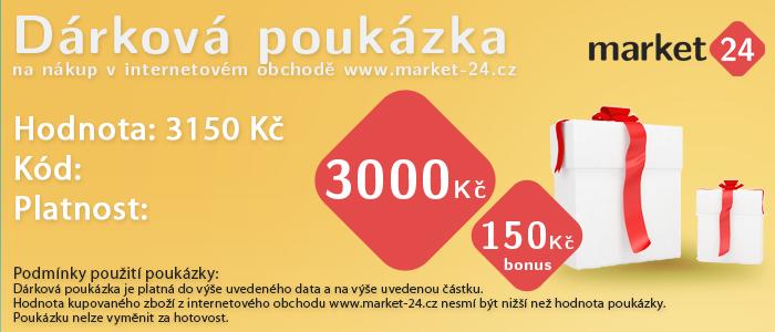 Dárková poukázka - 3000 Kč + bonus 150 Kč Market 24