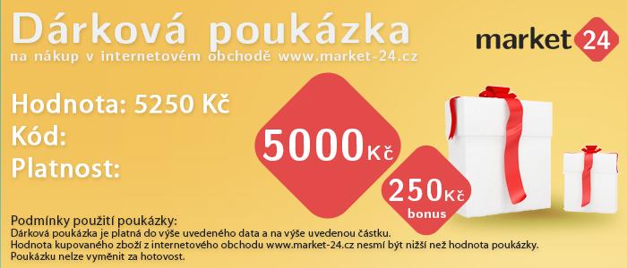 Dárková poukázka - 5000 Kč + bonus 250 Kč Market 24