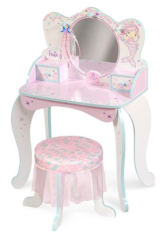 DECUEVAS TOYS - 55541 Dřevěný toaletní stolek se zrcadlem, stoličkou a doplňky Ocean Fantasy