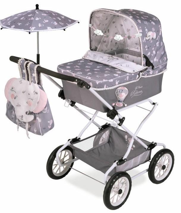 DECUEVAS TOYS - 82035 Skládací kočárek pro panenky REBORN se slunečníkem a doplňky SKY 2020-90 cm