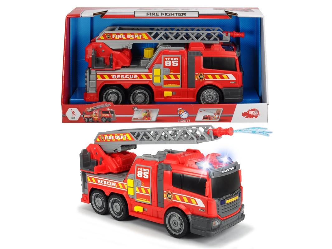 DICKIE - Action Series hasičské auto 36 cm, světlo a zvuk, ruční pumpa - stříkačka