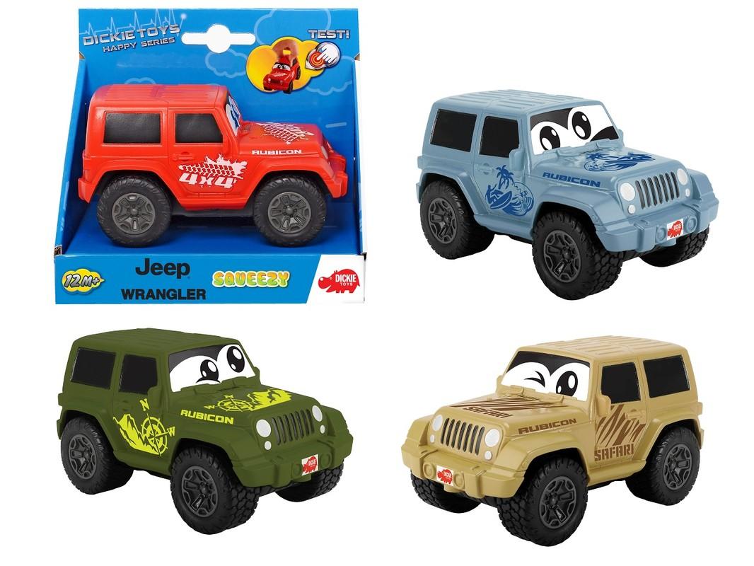 DICKIE - Auto Happy Jeep Wrangler Squeezy 11 Cm, 4 Druhy