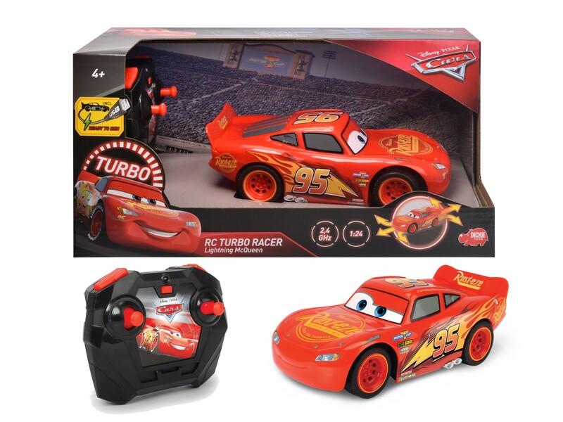 DICKIE - Rc Cars 3 Blesk Mcqueen Turbo Racer 1:24, 17Cm, 2Kan