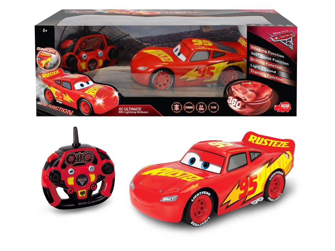 DICKIE - Rc Cars 3 Feature Blesk Mcqueen 1:16, 26 cm, 3 Kan