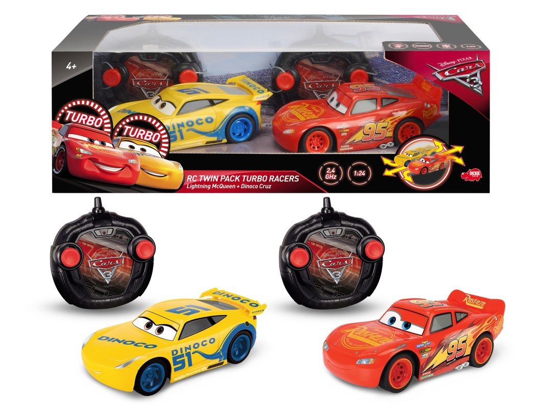 DICKIE - RC Cars 3 Sada Blesk McQueen a Cruz Ramirezová
