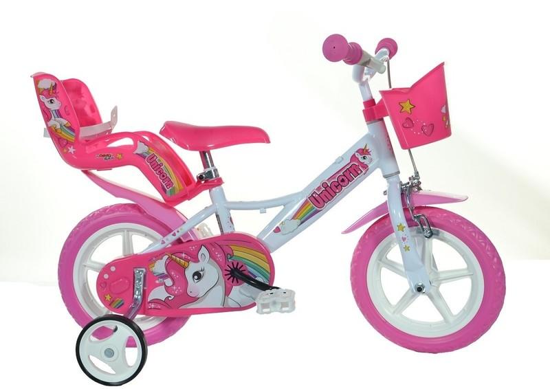 """DINO BIKES - Dětské kolo - 12 """"124RLUN se sedačkou pro panenku a košíkem s Unicorn"""