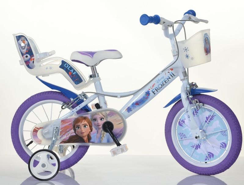 """DINO BIKES - Dětské kolo - 14 """"144RF3 se sedačkou pro panenku a košíkem a licencí Frozen 2"""
