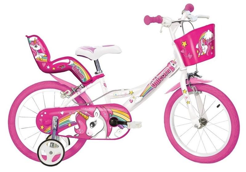 """DINO BIKES - Dětské kolo 14 """"144RUN Unicorn se sedačkou pro panenku a košíkem"""