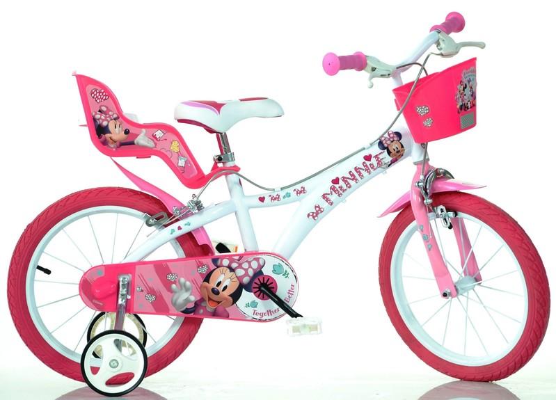 """DINO BIKES - Dětské kolo - 14 """"614NN Minnie se sedačkou pro panenku a košíkem"""