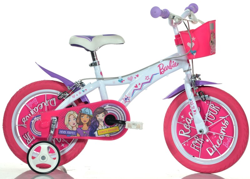 """DINO BIKES - Dětské kolo - 14 """"Dino 614GBA s košíkem a licencí Barbie"""