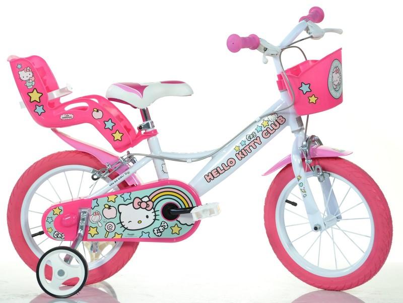 """DINO BIKES - Dětské kolo 144RHK2 - 14 """"Hello Kitty se sedačkou pro panenku a košíkem"""