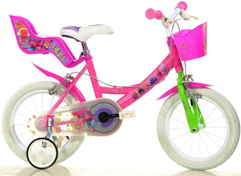 """DINO BIKES - Dětské kolo 144RTRO Trolls - 14 """"se sedačkou pro panenku a košíkem"""