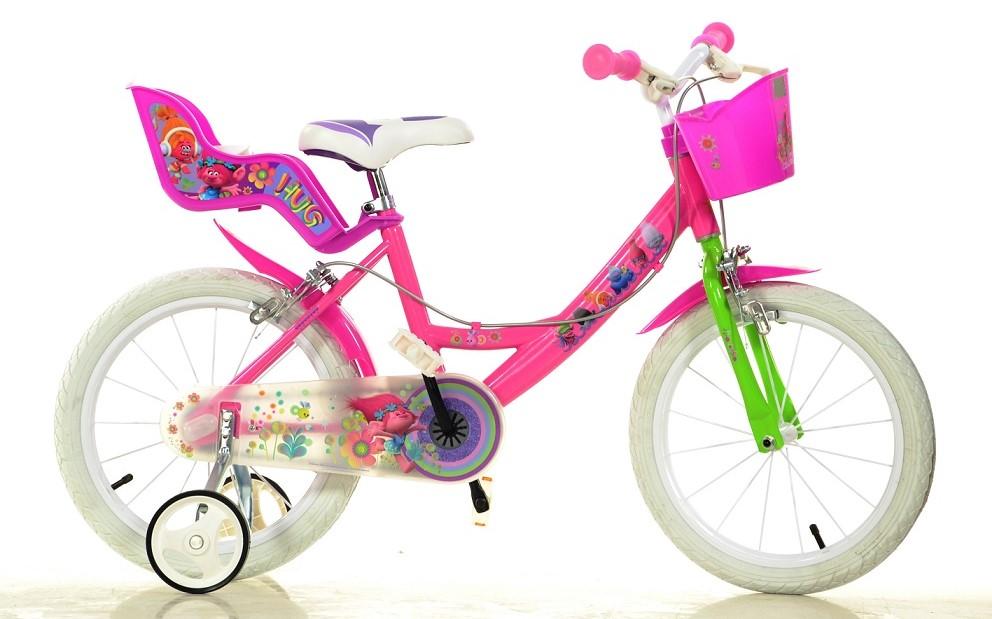 """DINO BIKES - Dětské kolo 164RTRO Trolls - 16 """"se sedačkou pro panenku a košíkem"""