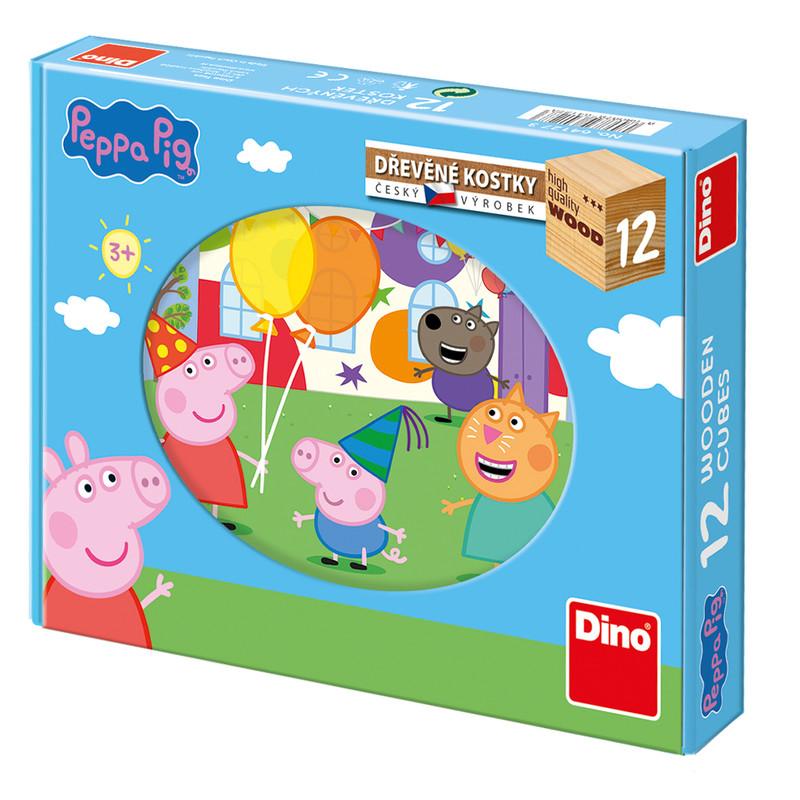 DINO - Dřevěné kostky Peppa Pig - 12 kostek
