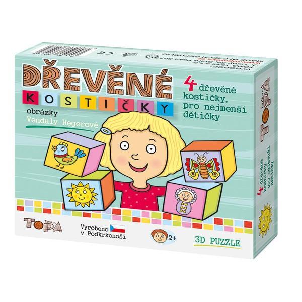 DINOTOYS - Dřevěné kostky Pro nejmenší děti 4 ks