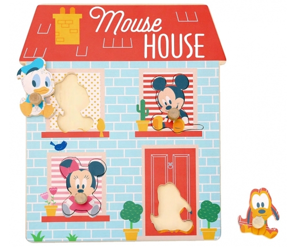 DISNEY - Dřevěné Disney puzzle,domeček pro nejmenší Mickey a přátelé, 24 x 30 cm