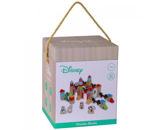 DISNEY - Dřevěné kostky Disney velké 60 ks - Mickeyho hrad