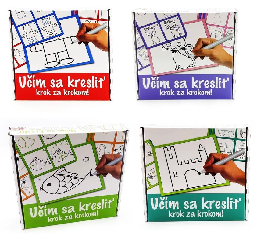 DOHÁNY TOYS - Dětská tabule, učím se kreslit 1 + 12ks - červená