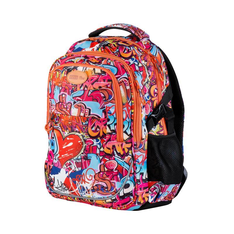 EASY - Batoh školní - sportovní - graffiti - oranžové zipy - Market ... f444786f6a