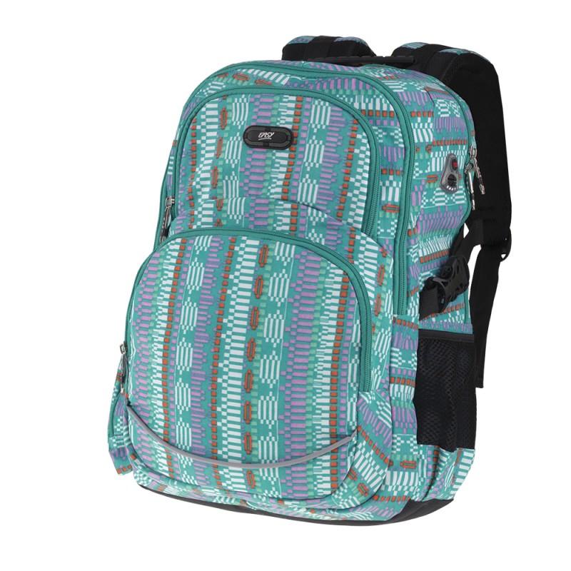 EASY - Školní batoh - sportovní dvoukomorový zelený vzor ... f6eb0058b0